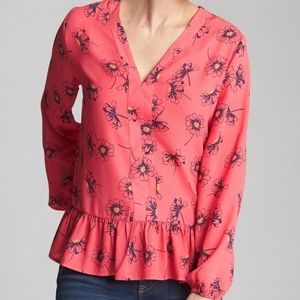GAP | Coral Pink Floral Ruffle Blouse – Size L